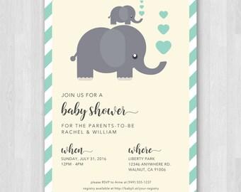 Gender Neutral Baby Shower Invitation | Mint Green Baby Shower | Elephant Baby Shower Invitation | Modern Baby Shower Invitation