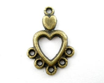 Jewelry hearts, five row connectors metal bronze color