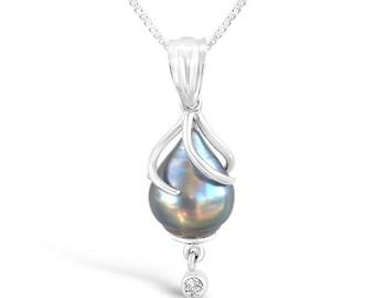 Solar Wind; Black Tahitian Pearl, Diamond, and 14K White Gold Pendant