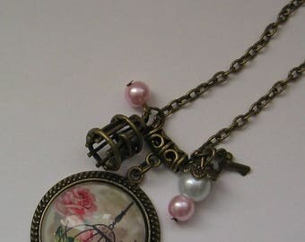 Necklace cabochon 25mm jewel * caged bird *.