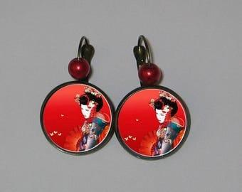 Earrings 20mm cabochon jewelry * women Japanese *.