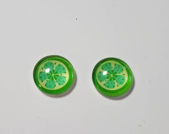 2 glass cabochons 12mm lime green fruit
