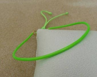 Beach bracelet adjustable brass and neon green molded plastic