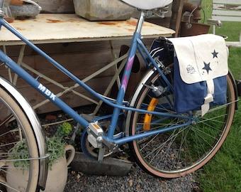Saddlebag linen old white and Navy Blue
