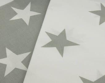 New - Printed fabric 100% cotton white stars