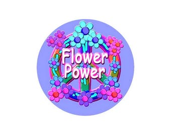 2 cabochons 14 mm glass Hippy Flower Power - 14 mm