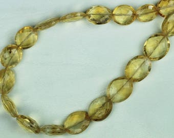 17 Piece Faceted Citrine Oval Beads 4 x 8 x 9 -- 5 x 10 x 12.5 mm approx [T 45 ]