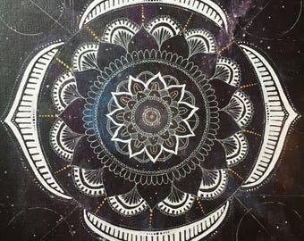 Space mandala acrylic painting on canvas