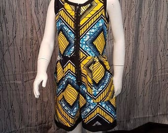 Playsuit Wax cotton, yellow, blue, black. Very trendy. HAND MADE