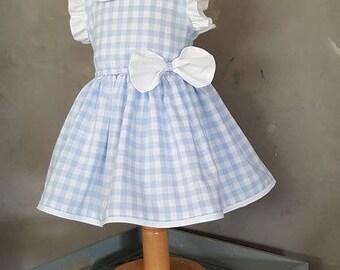 Baby Blue gingham Peter Pan collar dress. HAND MADE