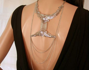 Silver back jewel waterfall of chains and rhinestones ELVAN