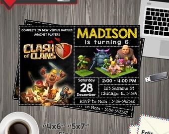 Clash of clans Invitation, clash of clans Birthday, clash of clans Invite, clash of clans Party, clash of clans PDF, clash of clans Editable
