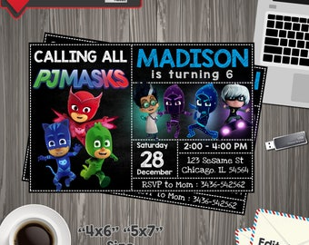 Pj mask Invitation, pj mask Birthday, pj mask Printable, pj mask Editable, pj mask PDF, pj mask party birthday, pj mask , pj mask edit,