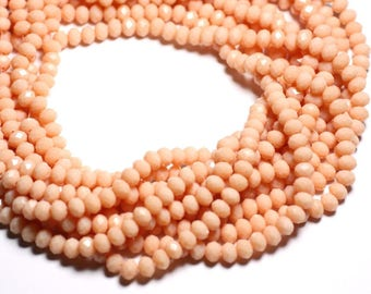 Wire 39cm 90pc env - beads opaque - Rondelle faceted glass 6x4.5mm peach salmon pink - 4558550084842