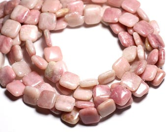 4pc - stone beads - Opal pink square 14mm - 4558550084590