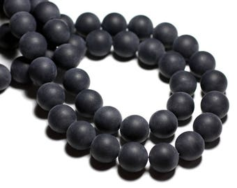 20pc - stone beads - sand matte black Onyx balls 4mm 4558550028334