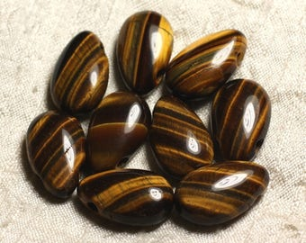 1pc - semi precious stone pendant - eye of Tiger drop 25 mm 4558550013545