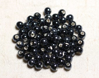 20pc - beads ceramic porcelain balls 6 mm iridescent black - 4558550088680