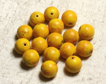 10pc - synthetic Turquoise beads 12mm yellow balls No. 3 4558550004857