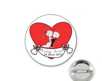 Custom wedding o32mm pin badge