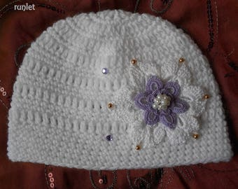 Hat, big flower baby blanchecrochet