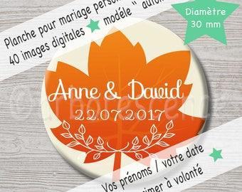 """Mariage """"automne"""" - 40 Images digitales à imprimer à volonté."""