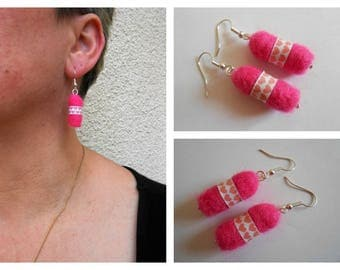 Earrings silver, small pink felted wool balls.