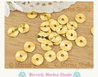 20 Golden flat beads 10mm