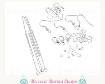 Kit DIY creations of jewels Silver earrings, bracelets etc.