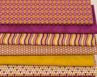 "Set of 7 fabric patchwork 75 x 30 cm ""retro"" fuchsia/yellow curry"