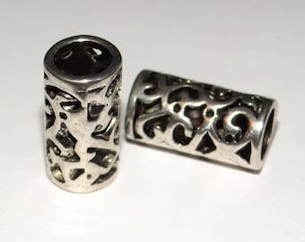set of 2 silver metal tube