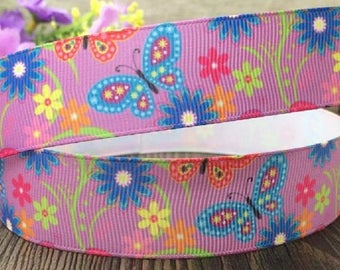 Printed grosgrain Ribbon * 25 mm * Butterfly NATURE and flowers - sold by the yard