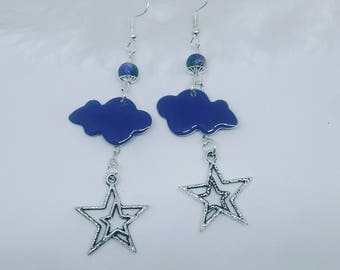 Cloud and star earrings