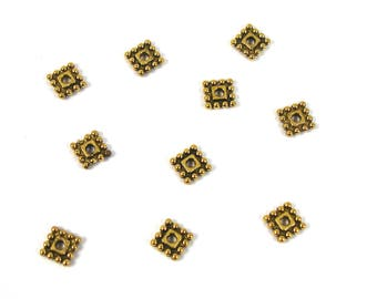 Square 7 mm X 10 PCs antique gold colored metal spacer beads