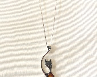 Silver and Cognac Baltic Amber Cat Necklace-925 Sterling Silver