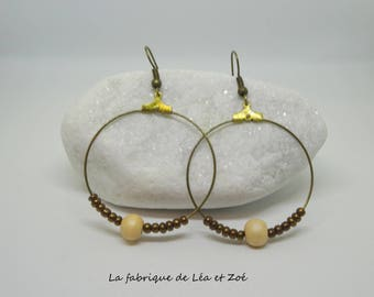 Bronze hoop earrings and beads