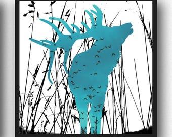 Modern Deer Print, Antlers, Scandinavian Art, Stag Print, Deer Print, Woodland Animals, Blue wall Art, Deer Wall Art, Elk Print