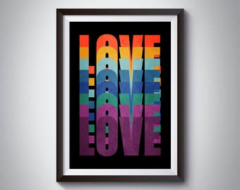 Typographic Artwork, Love Print, Printable Art, Dorm Decor, Love Poster, Rainbow Art, Love Art Poster, Modern Decor, Love Decor, Pride Print