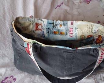 """grey denim bag inside oilcloth """"chic Paris"""""""
