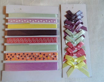 set of 10 lace, Ribbon and 10 colored satin bows for sewing, decor
