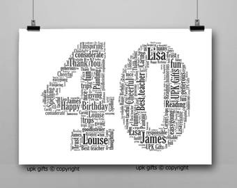 Personalised Gift Printable Word Art Age, 40th Birthday, Anniversary,  Sister, Brother, Wife, Husband Any Age Available 1,16,18,21,30,50,60