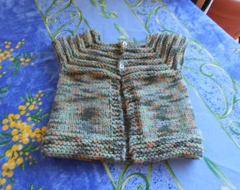 little baby Cardigan hand knitted in acrylic multicolor shades of green