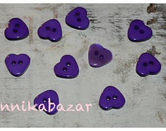 10 purple resin heart shaped buttons