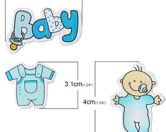 Baby boy blue wooden decoration embellishment. Set of 3 pieces