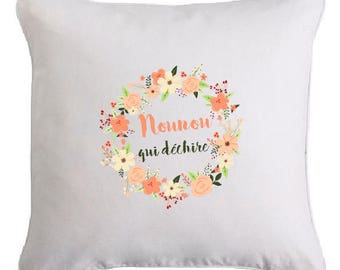 """Flower print cushion """"nanny (or other) which tears"""""""