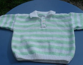 Hand knitted blue polo 12 months striped green and white