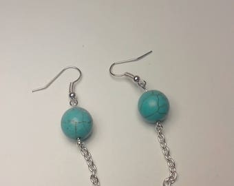 Crackle bead earring and silver chain