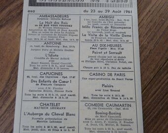 """Old program """"Shows De Paris"""" from 23 to August 29, 1961 with the Schweppes commercial"""