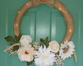 "Cream and Gold ""Go Away"" wreath"