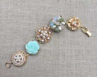 Vintage Earring Bracelet, Vintage Bracelet, Green Bracelet, Pearl Bracelet, Retro Bracelet, Chic Bracelet, Romantic Country, Gift Bracelet